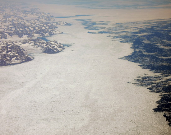 sea ice greenland mountains