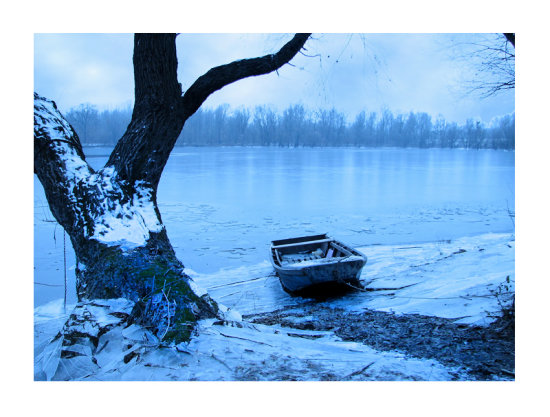 winter ice danube river boat