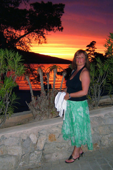 wife with ibiza sunset.taken with fuji 610