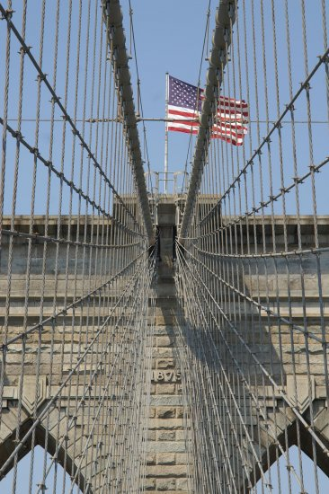 NYC Brooklyn Bridge American Flag 2007