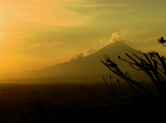 volcano mexico popocatepetl landscape sunset