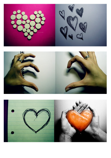 love collage hearts