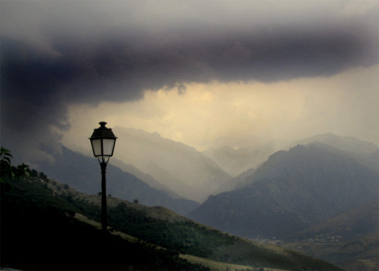 Landscape dramatic storm corsica viewpoint clouds mountains