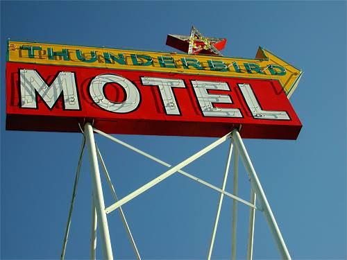 jimwich california sierras 395 bishop thunderbird motel signs signage neon retro