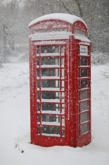 snow surrey phone box red