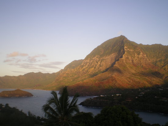 Atuona Bay on the early morning-light (5.30 AM) HIVA OA  island South district of the MARQUESAS...