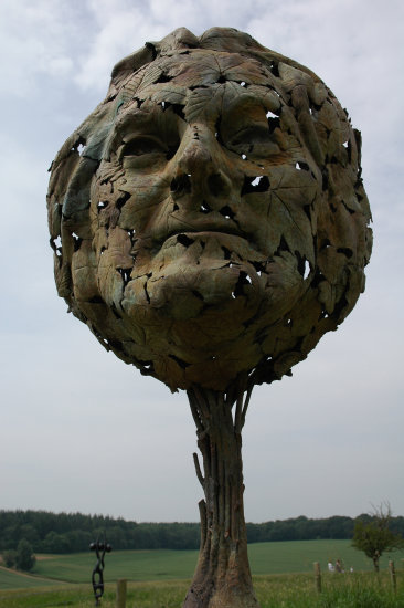 sculpture bronze landscape face