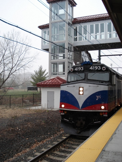 Montclair State University Station, NJ. The train to Netcong, NJ... Begining to snow... in april!!!