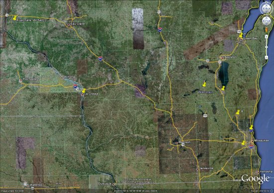 Google Earth, Wisconsin Statewide Area with Freeway Access to All ...