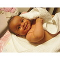bath bathing time white towel baby smiling body