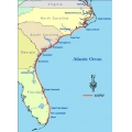 This map shows the length of the Intercoastal Waterway which runs from Norfolk, Virginia to Miami...
