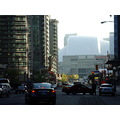 At 6:54pm.Looking down the street at Rogers Centre-On Bremner Blvd.,outside the Air Canada Centre...