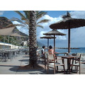 2008 portugal madeira calheta artificial beach south coast sand cafe people sea
