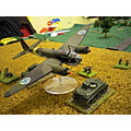 A Finnish Ju88 makes a bomb run during a Flames of War wargame. Model by Old Glory, my paintjob.