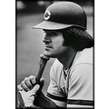Pete Rose baseball Cincinnati Reds portrait bw