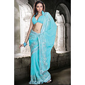 We have ensemble a symphony of enchanting saree to restyle your senses sky blue faux georgette pa...