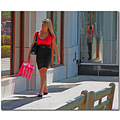female shopper bag city shopping calif walking strolling