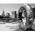 city bw statue landscape urban perspective texture building river reflection