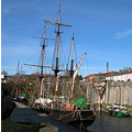 Quayside Cornwall Charlestown Sail Boat Ship Harbour Coast
