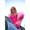 Men Man Gay Pride GayPride Spain Madrid Pink Feathers Boa Smile