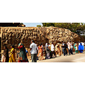 Tourists before a rock sculpture Mahabalipuram South India