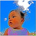 infant girl baby sky clouds