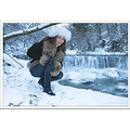 girl woman wife model portrait waterfall bulgaria nature river winter snow