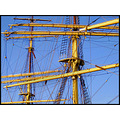 rigging ship boat yellow lines rope mast ladder