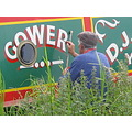 signwriting narrowboat riverbank boat canal river grass