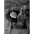 glass plate bottle croissant tablecloth bw still life artistic