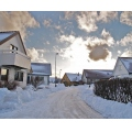 houses snow winter clouds sky