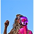 gaypride men man gay pride spain madrid Pink Mask Blonde Shades Portrait