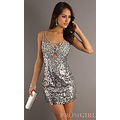 Sleeveless Silver Sequin Cocktail Dress