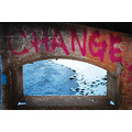 change pink tag graffiti concrete bridge snow water
