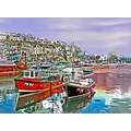 0023 Manipulated Mevagissey Cornwall UK Sea Coast Harbour Boat Moored