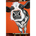 cow painting black white