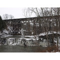 snow traintrestle trestle waterfall dam
