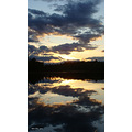sunset lake clouds reflection