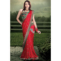 A perfect saree to define your style, Which makes this piece unique red faux georgette saree.This...