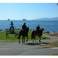 police patrol english bay vancouver inukshuk