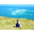 girl lady woman sitting view sea landacape scenery