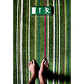 green sign escape exit foots