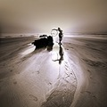 beach sand woman reflection hula hoop silhouette wide angle square art ireland