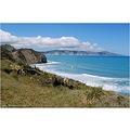 Hawke Bay looking across to Mahia Peninsula . North Island. NZ.