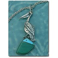 necklacefriday pelican turquoise malachite silver