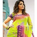 Faux Green Parrot Kameez Bombay Collection Crepe Saree with Blouse