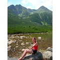mountains lake summer holiday girl woman joy