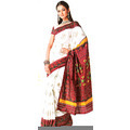 Off white and deep yellow faux georgette saree having abstract flower