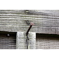 a rusty nail in a fence