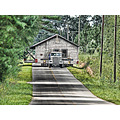 A good day to move a house.  I processed this photo a little with LucisPro software to 'cartoon-i...